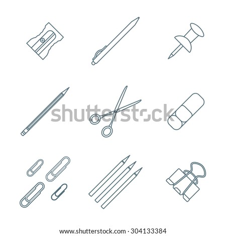 grey outline various stationery icons set white background
