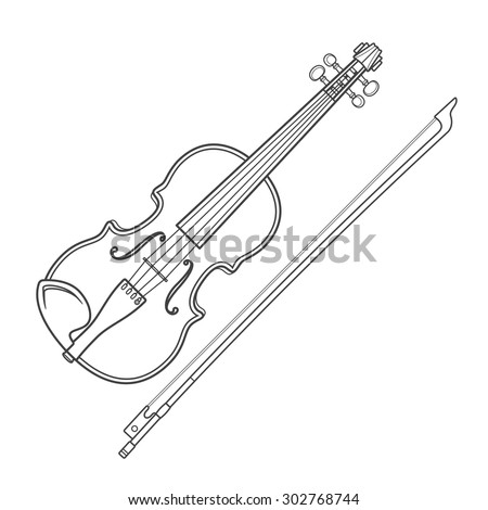 grey outline violin fiddle bow on white background technical illustration