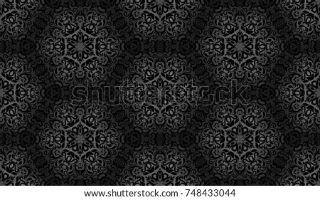 Grey pattern with geometrical flower