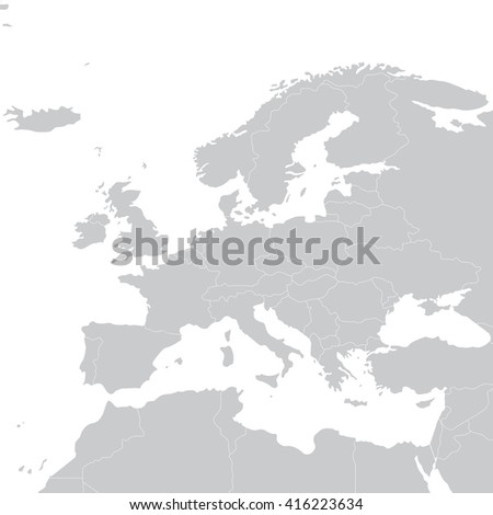 Grey political map of Europe. Europe map illustration. Political Europe map - stock photo