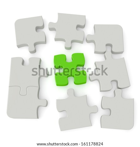 Grey puzzle with a single green main piece isolated on white background. Computer generated image with clipping path. - stock photo