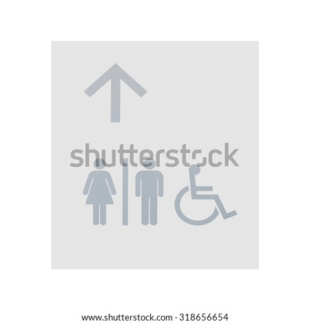 Grey restroom sign on white wall background