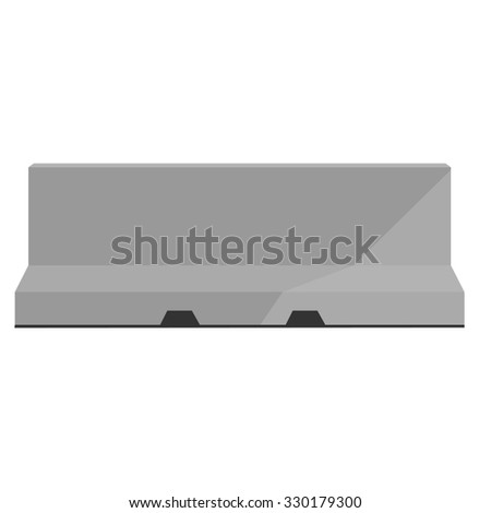 Grey road barrier raster illustration. Traffic barrier. Road block - stock photo