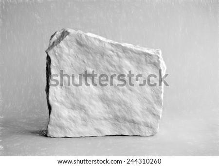 grey rock  - illustration based on own photo image - stock photo