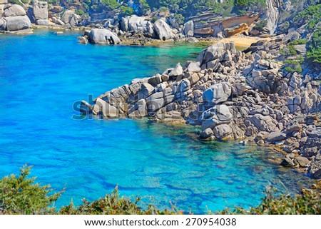 grey rocks and green plants by Capo Testa shoreline, Sardinia - stock photo