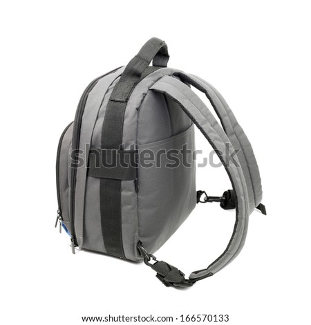 grey rucksack isolated on white