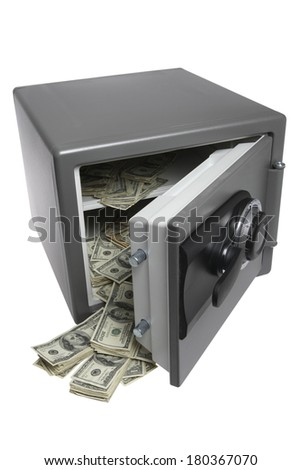 Grey safe opened with dollar bills spilling out