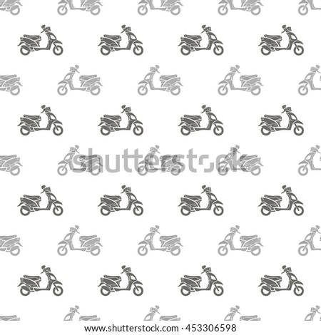 Grey Scooters Isolated on White Background. Seamless Scooter Pattern