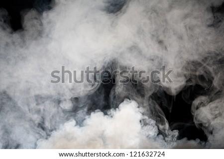 grey smoke with black background - stock photo