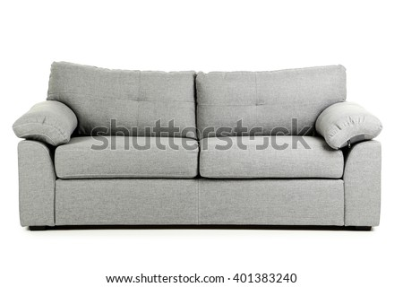 Grey sofa isolated on a white background - stock photo