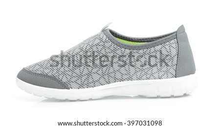 grey sport shoes  isolated on white background