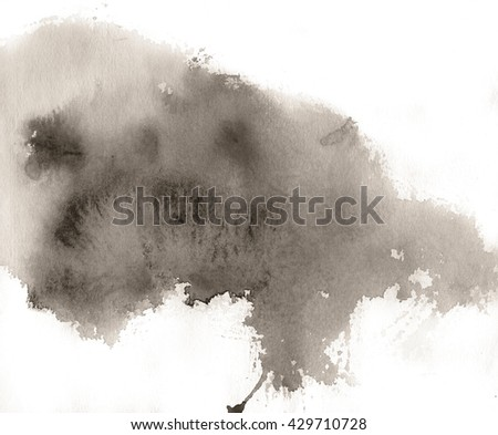 Grey spot, watercolor abstract hand painted background. Abstract toned monochrome stain. - stock photo