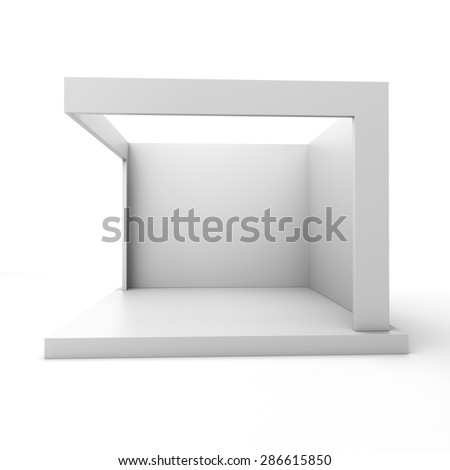 grey stall or booth for customizing. View from perspective - stock photo