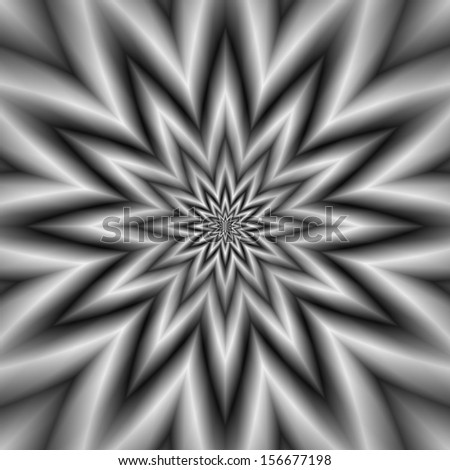 Grey Star / Digital abstract fractal image with a monochrome star design in black and white.