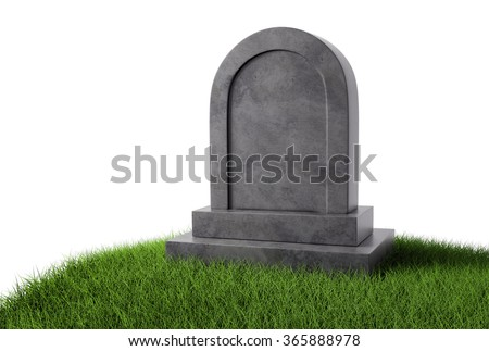 Grey stone gravestone on green grass with copy space Isolated on white background. - stock photo