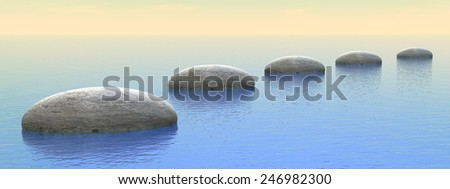 Grey stones steps upon the ocean by sunset - 3D render