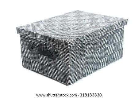 grey storage box on the white background isolated - stock photo