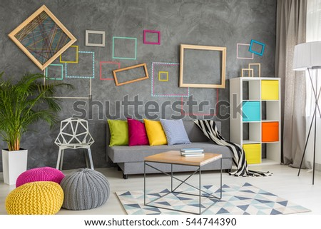 Grey Stylish Living Room With Colorful Accessories And Pillows Part 76
