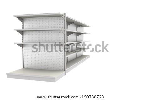grey supermarket shelf. - stock photo