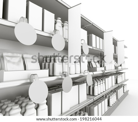 grey supermarket shelf at an angle with blank wobblers and flags - stock photo