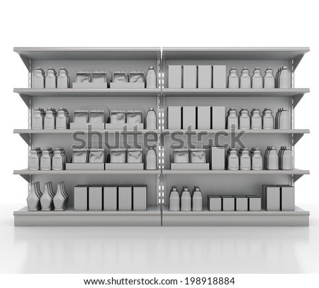grey supermarket shelf from front with blank products - stock photo