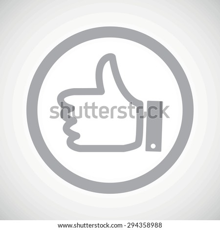 Grey thumbs up symbol in circle, on white gradient background