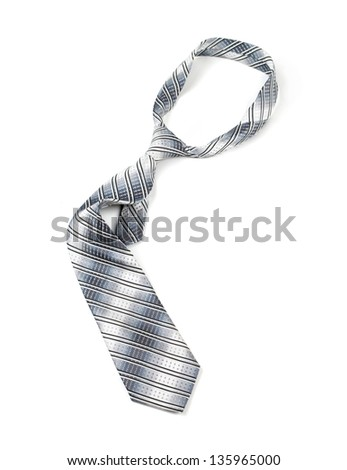 Grey tie, white background isolated