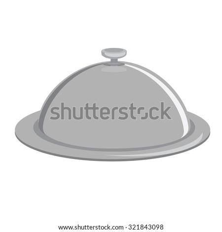 Grey tray, kitchenware, trey isolated, tray raster, closed tray - stock photo