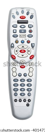 Grey TV Remote Control Isolated on White Background. - stock photo