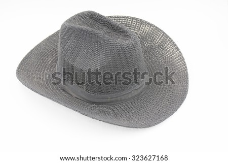 grey weaving hat with ribbon isolated on white
