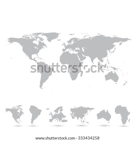 Grey world map and the continents, illustration. - stock photo