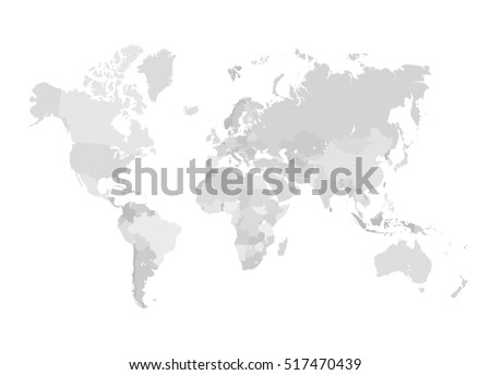 Grey world map illustration empty template stock illustration grey world map illustration empty template without country names isolated on white background gumiabroncs Image collections