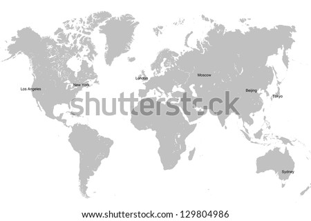 Grey world map isolated on white ilustracin en stock 129804986 grey world map isolated on white background global business concept gumiabroncs Images