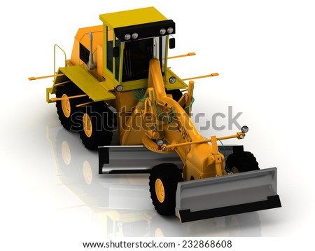 Greyder Tractor with hydraulic shovel on white background - stock photo