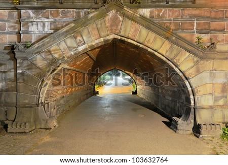 Greywacke Arch in Central Park in Manhattan - stock photo