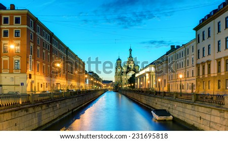 Griboyedov Canal (Kanal Griboyedova) with Church of the Savior on Spilled Blood at White Night in St. Petersburg, Russia - stock photo
