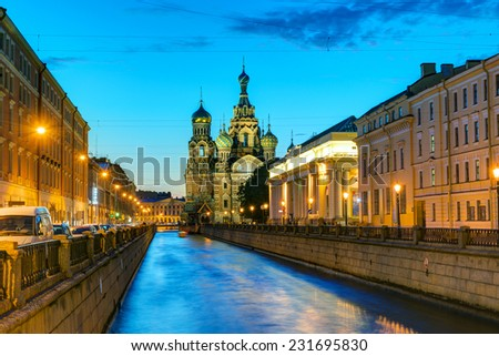 Griboyedov Canal with Church of the Savior on Spilled Blood at White Night in St. Petersburg, Russia - stock photo