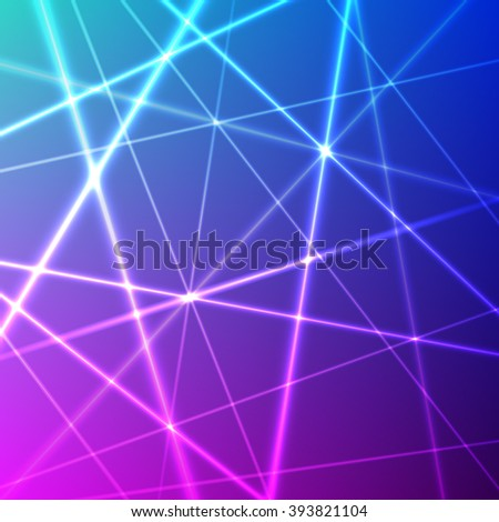 Grid of colorful laser rays - stock photo