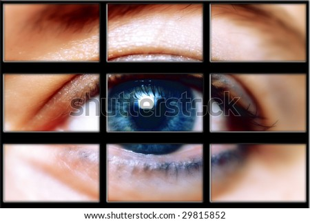 grid of multiple screens with a photo of a blue eye inside it
