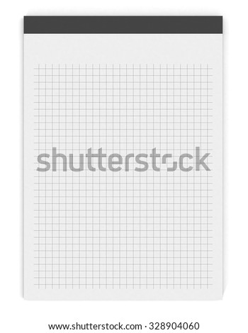 grid paper notepad on white background (3d render) - stock photo
