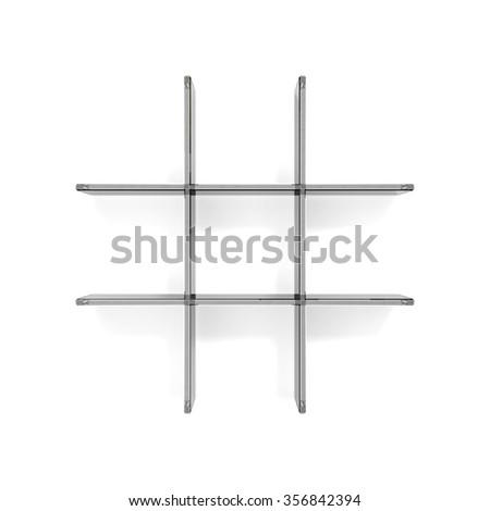 grid transparent glass shelfs - stock photo