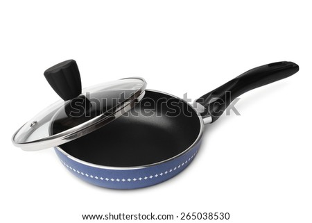 Griddle with glass lid on white background - stock photo