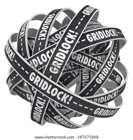 Gridlock Word Road Ball Endless Traffic Tie Up Mess - stock photo