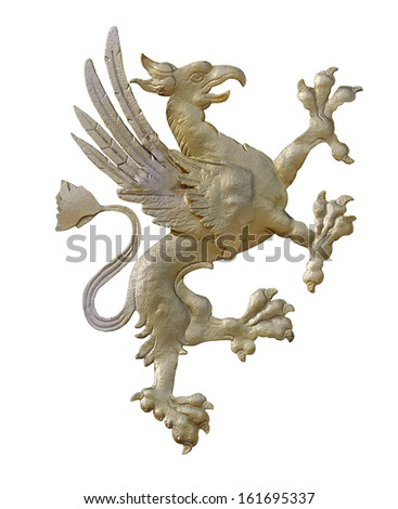 Griffin figure, isolated by clipping path on white background