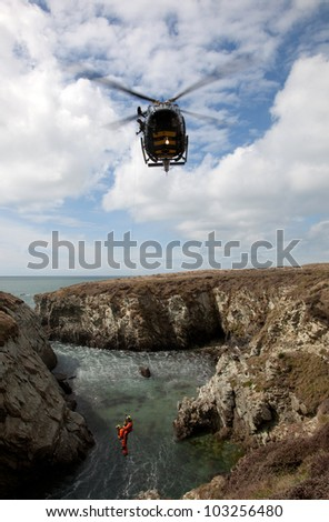 Griffin Helicopter on an exercise off the coast of Anglesey north Wales Uk
