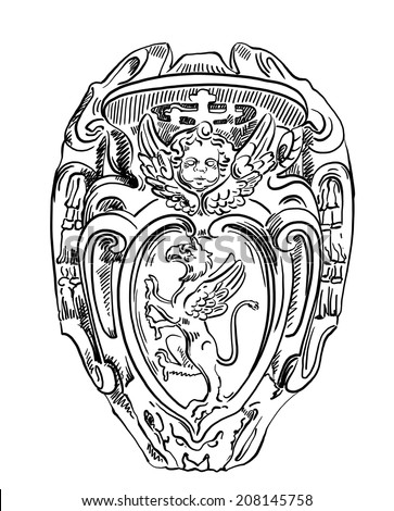 Griffin heraldry coat of arms, old historical heraldic design of building in Roma, Italy, drawn by me, vintage illustration - stock photo