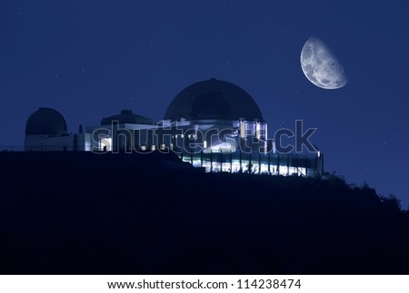 Griffith Observatory at Night. Clear Sky with Stars and the Moon. Science Photography Collection. Griffith Observatory Los Angeles, California USA. - stock photo