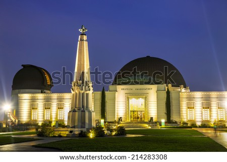 Griffith observatory in Los Angeles in the night - stock photo