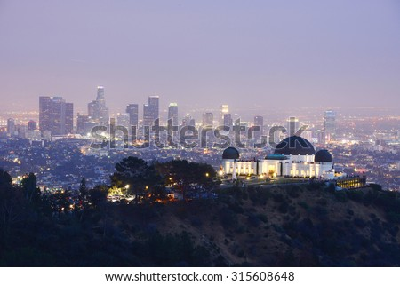 griffith observatory with Los angeles downtown at dusk