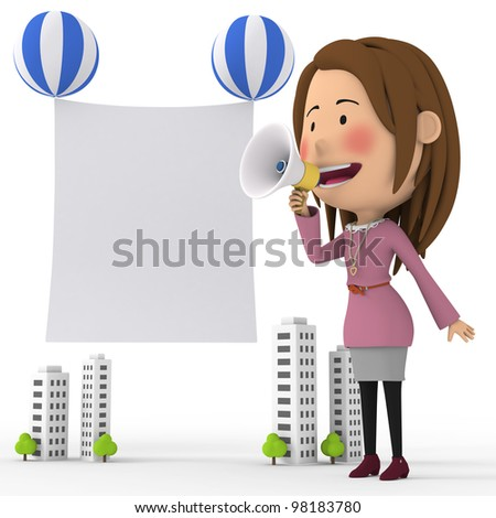 Gril to promote - stock photo